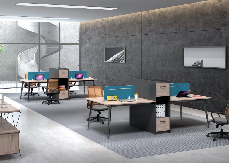 简约现代职员桌4人位带柜员工办公桌